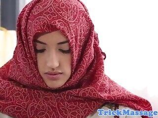 Arab teen hither hijab came helter-skelter rub-down
