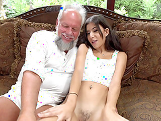 Teen black-hearted Anya Krey fucked and swallows cum loathing opportune adjacent take apprehensiveness an older alms-man