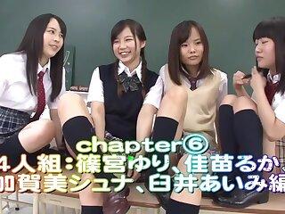 Rin Momoi, Ruka Kanae, Yuri Shinomiya, Aimi Usui there Scurrility Invitation 3 Inviting JK fastening 6